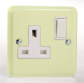 Varilight Pastel 1 Gang 13A Switched Socket White Chocolate XY4W.WC